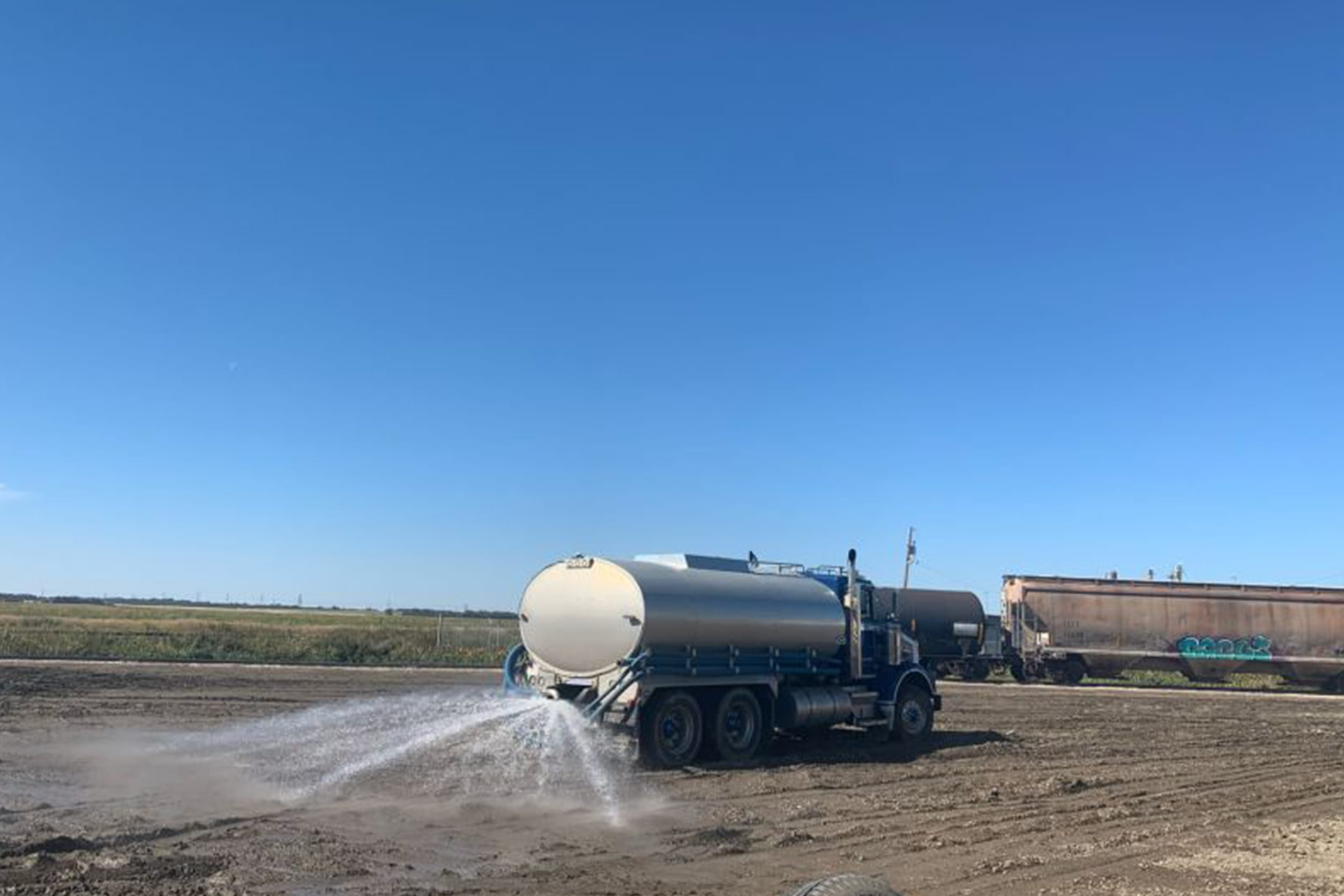 water tanker spraying water
